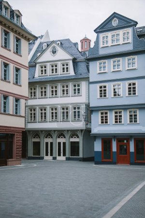 colorful buildings at city street in Frankfurt, Germany