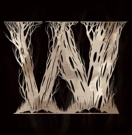 Buchstabe w des künstlerischen Alphabets aus Ästen von Bäumen. Aquarell handgezeichnete Illustration