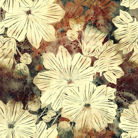 Photo pour Fleurs vintage abstraites aux couleurs marron - image libre de droit