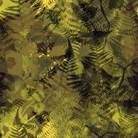 green tropical orchids and ferns mix repeated seamless pattern. digital hand drawn picture with watercolor texture.