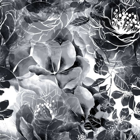 Photo for Imprints monochrome flowers and leaves mix repeat seamless pattern. digital hand drawn picture with watercolour texture. - Royalty Free Image