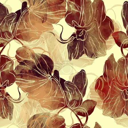 mix repeat seamless pattern with imprints of lines and orchids,  mixed media artwork