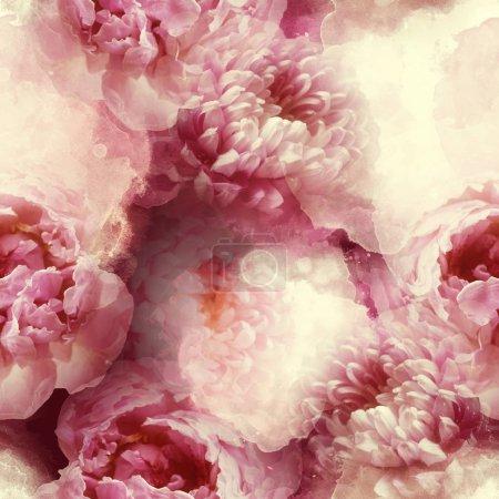 Photo pour Motif photo et aquarelle sans couture avec chrysanthèmes et pivoines, œuvres numériques mixtes - image libre de droit