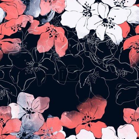 improntas florecientes flores de manzano patrón sin costuras, acuarela digital textura
