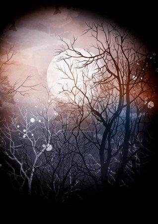 Photo pour Imprime les branches des arbres et la lune dans une texture aquarelle numérique sombre - image libre de droit