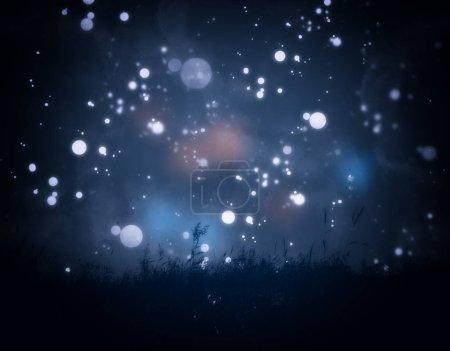 Photo pour Herbe fluviale et ciel nocturne avec étoiles, photo avec texture aquarelle . - image libre de droit