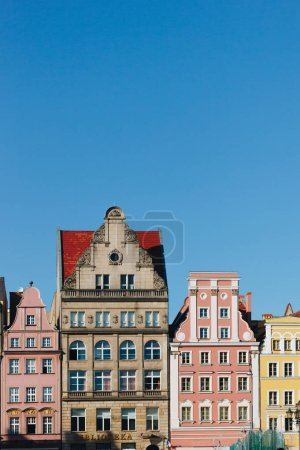 colorful facades of antique building at Wroclaw, Poland