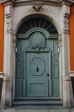 ancient wooden doors of european building, Wroclaw, Poland