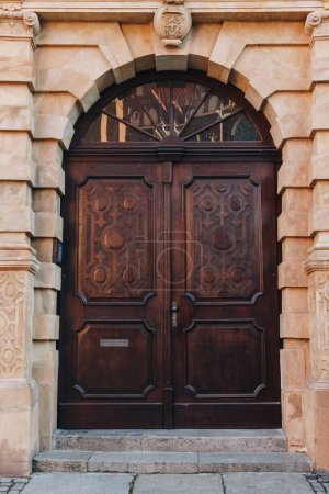 Photo for Old wooden doors of european building, Wroclaw, Poland - Royalty Free Image