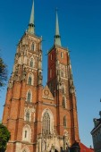 bottom view of beautiful Cathedral of St John Baptist, Wroclaw, Poland