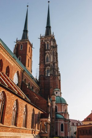 bottom view of Cathedral of St John Baptist, Wroclaw, Poland