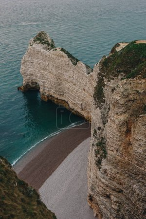 aerial view of scenic rocky cliff at Etretat, France