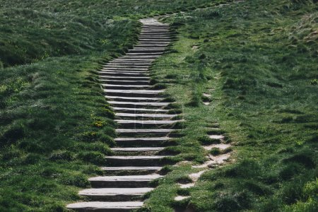 stone stairs through green grass, Etretat, Normandy, France