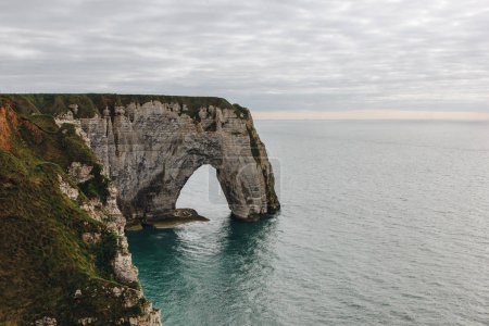 aerial view of rocky cliff and sea, Etretat, Normandy, France