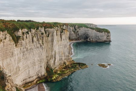 Photo for Beautiful landscape with cliff at seaside, Etretat, Normandy, France - Royalty Free Image