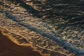 aerial view of sea waves in evening, Etretat, Normandy, France