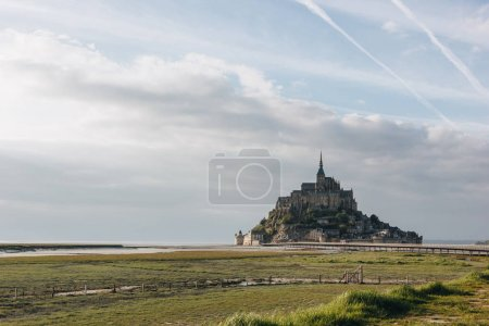 Photo for Famous mont saint michel at sea coast, normandy, france - Royalty Free Image