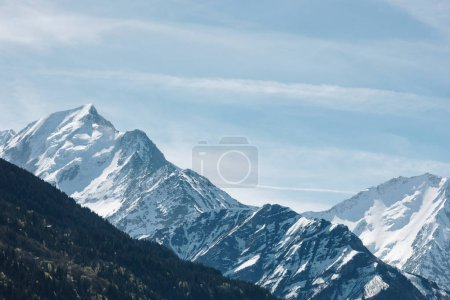 Photo for Amazing landscape with beautiful snow-capped mountain peaks, mont blanc, alps - Royalty Free Image