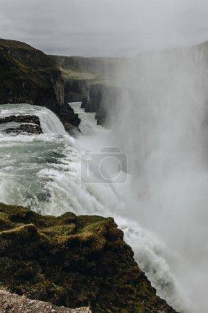 Photo pour Vue aérienne de la belle cascade de Gullfoss en Islande - image libre de droit