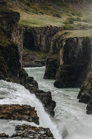 Photo for Beautiful Gullfoss waterfall flowing through highlands in Iceland - Royalty Free Image