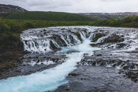 Photo for Aerial view of beautiful Bruarfoss waterfall on Bruara river in Iceland - Royalty Free Image