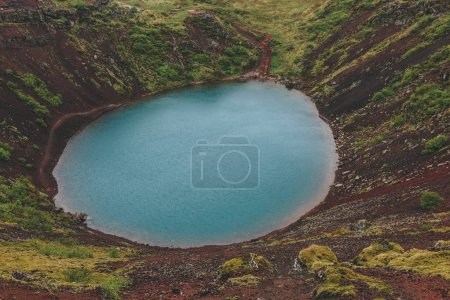 Photo for Aerial view of volcanic crater lake Kerid in Iceland - Royalty Free Image