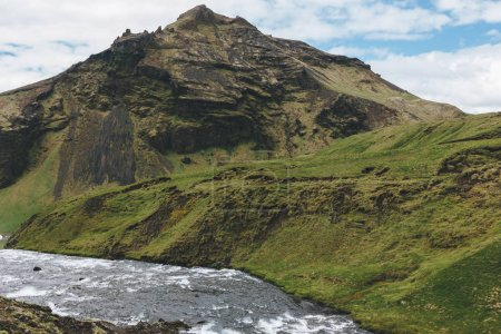 scenic view of beautiful Skoga river canyon in Iceland