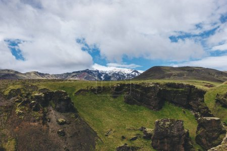 scenic view of landscape with mountains range under blue cloudy sky in Iceland