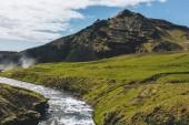 """Постер, картина, фотообои """"пейзаж с красивым Скоуг реки и горы под голубым небом в Исландии"""""""