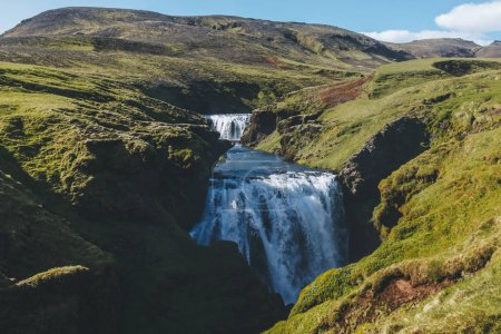 aerial view of Skoga river flowing through highlands in Iceland