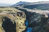"""Постер, картина, фотообои """"Аэрофотоснимок красивого каньона реки Скоуг в Исландии"""""""