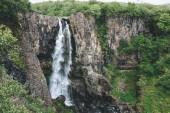 """Постер, картина, фотообои """"Аэрофотоснимок красивых водопада в национальном парке Скафтафетль в Исландии"""""""