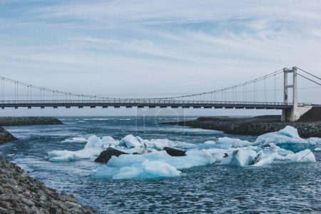 Photo for Bridge crossing blue river with glacier water in Jokulsarlon, Iceland - Royalty Free Image