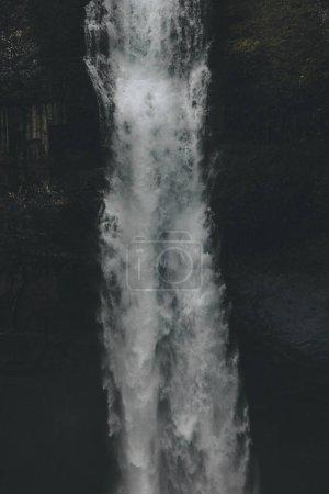 close-up shot of Haifoss waterfall on black, Iceland