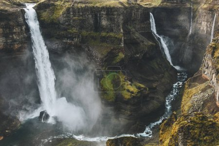 Photo for Aerial view of icelandic landscape with dramatic Haifoss waterfall - Royalty Free Image