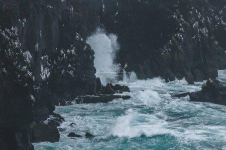 Photo pour Dramatique coup de vagues s'écrasant sur les falaises rocheuses en Islande - image libre de droit
