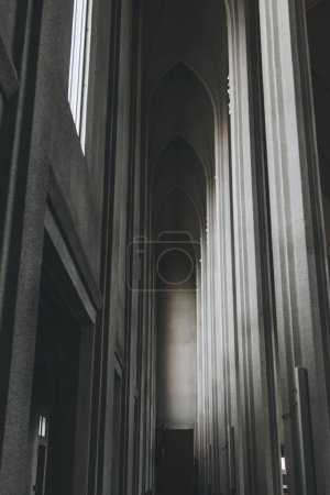 REYKJAVIK, ICELAND - 22 JUNE 2018: interior of beautiful Hallgrimskirkja church with many pillars in Reykjavik