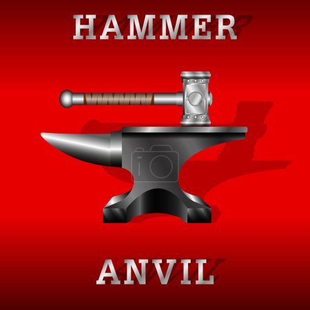 Black anvil and forging hammer isolated on a red b...