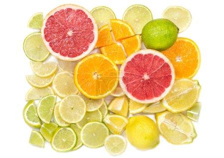 Photo for Orange, lemon, grapefruit, lime. Fresh citrus fruits. Food background - Royalty Free Image
