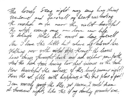 Photo pour Lettre manuscrite. L'écriture. Calligraphie. Manuscrit. Police. Texte indéfini avec des mots anglais. Texture abstraite fond - image libre de droit