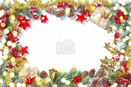 Photo for Christmas ornaments, gifts, stars, red gold decorations with golden lights - Royalty Free Image