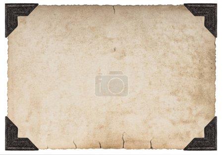 Photo pour Texture papier carton usagé avec coin photo isolé sur fond blanc - image libre de droit