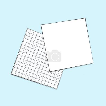Vide 2 feuilles de notes de papier à gros plan repose sur l'illustration numérique de surface isolé. Flat lay business notepad pages fond de couleur bleue. Coussinets en papier grille de vue supérieure pour écrire des idées et des objectifs d'affaires. Pour planifier, rappelez-vous le modèle de note rapide