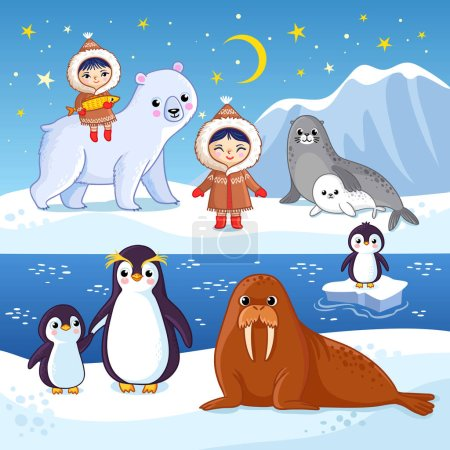 Northern animals on ice. Cute vector illustration with arctic animals.