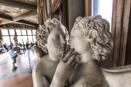 Photo for Statues and tourists in the Uffizi Gallery, Florence, Italy, Europe - Royalty Free Image