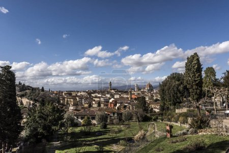 View of Florence City with dome of Florence Cathedral in view, Italy, Europe