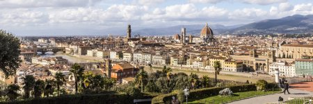 Photo for Panoramic of Florence City with dome of Florence Cathedral in view, Italy, Europe - Royalty Free Image