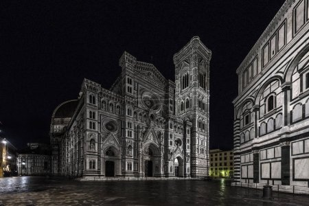 Photo for Night view of Duomo di Firenze Cathedral at night with the Baptistery of St.John in view, Florence, Italy, Europe - Royalty Free Image