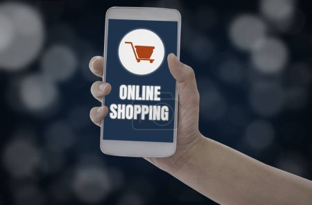 Women holding smartphone in hands with add to cart...