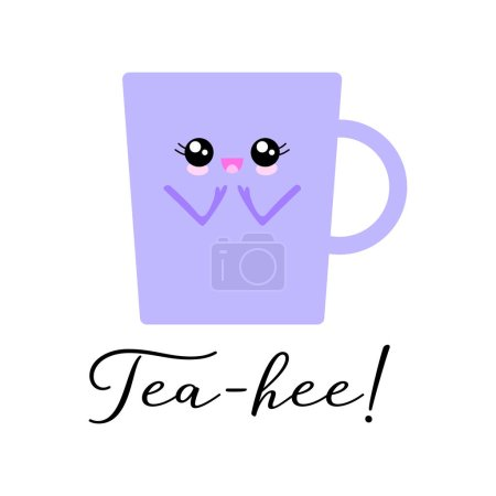Illustration for Vector illustration of a kawaii teacup  character with the funny pun Tea-hee!' Sweet T-Shirt design concept. - Royalty Free Image
